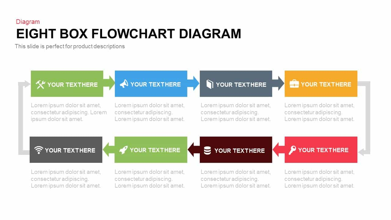 8 box flow chart diagram template for powerpoint and keynote