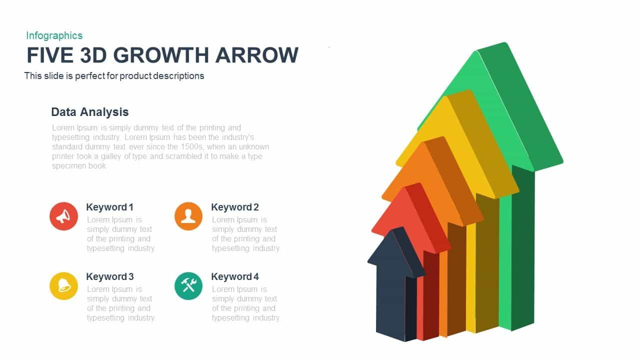 Five 3d Growth Arrow