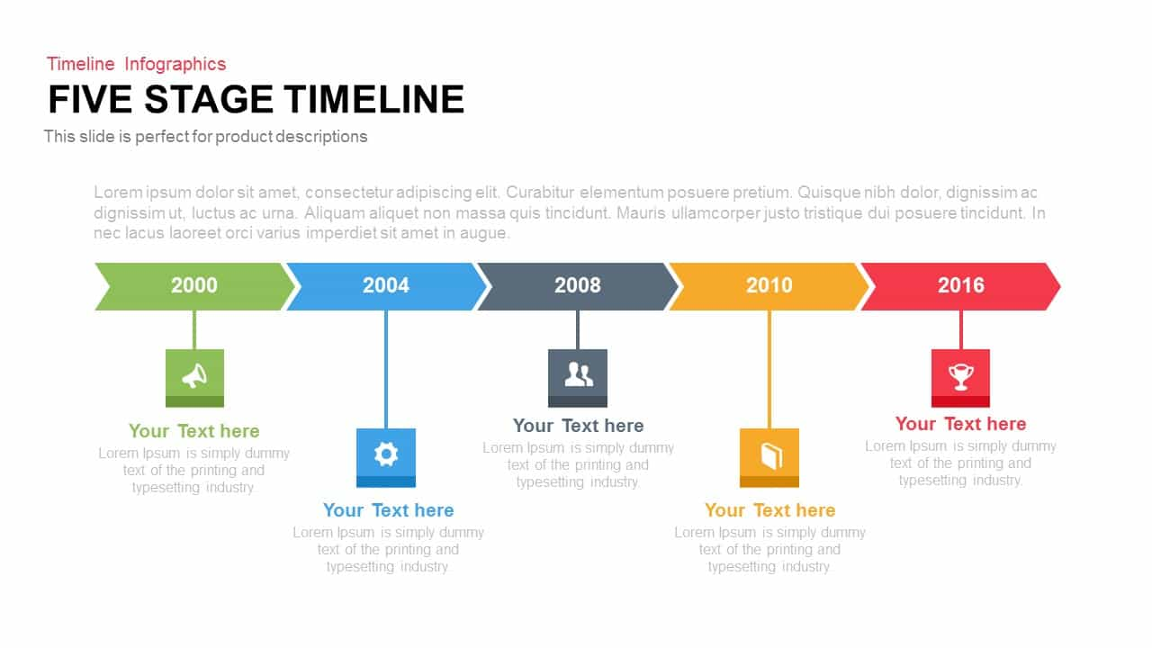 stage timeline powerpoint template and keynote slide