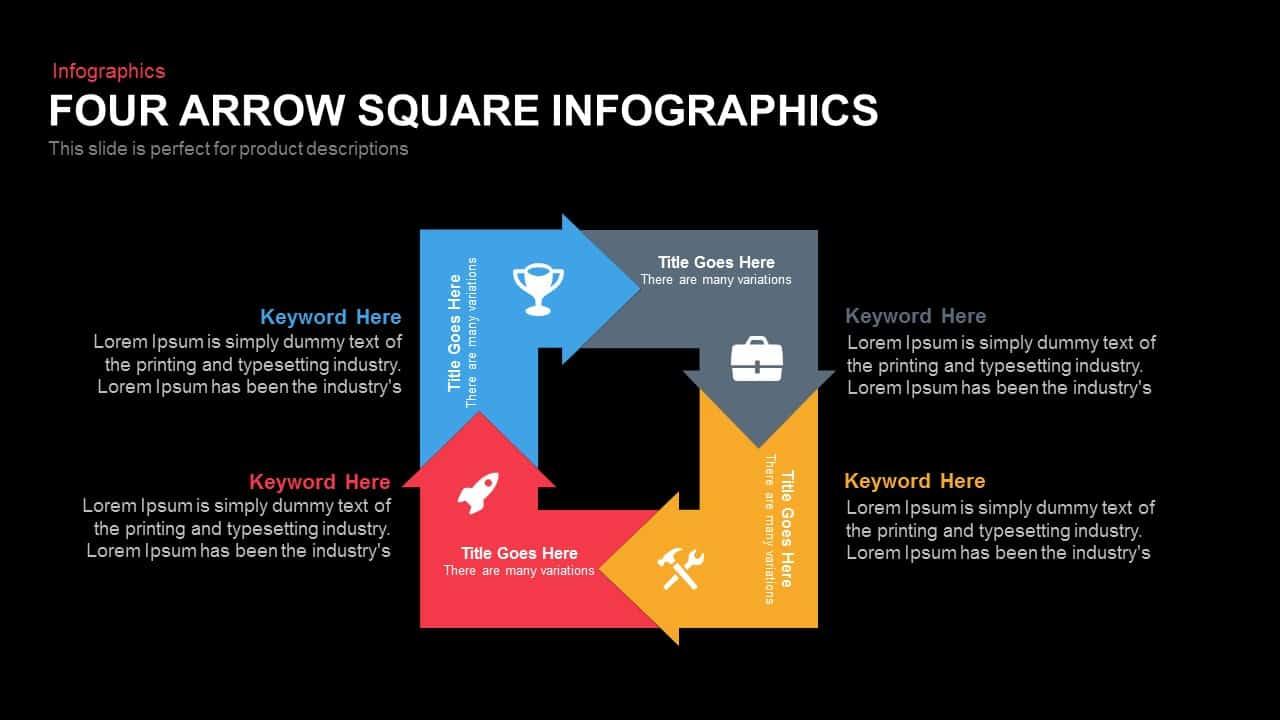 Four Arrow Square Infographics
