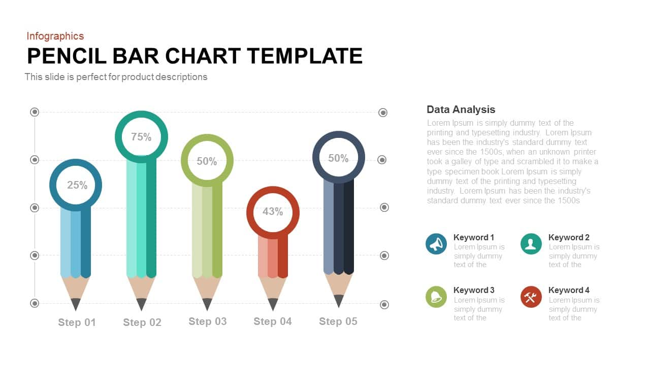 Pencil Bar Chart Template for Powerpoint and Keynote