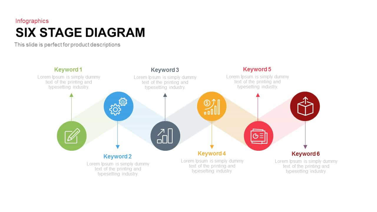 Six Stages Diagram PowerPoint Template and Keynote Slide