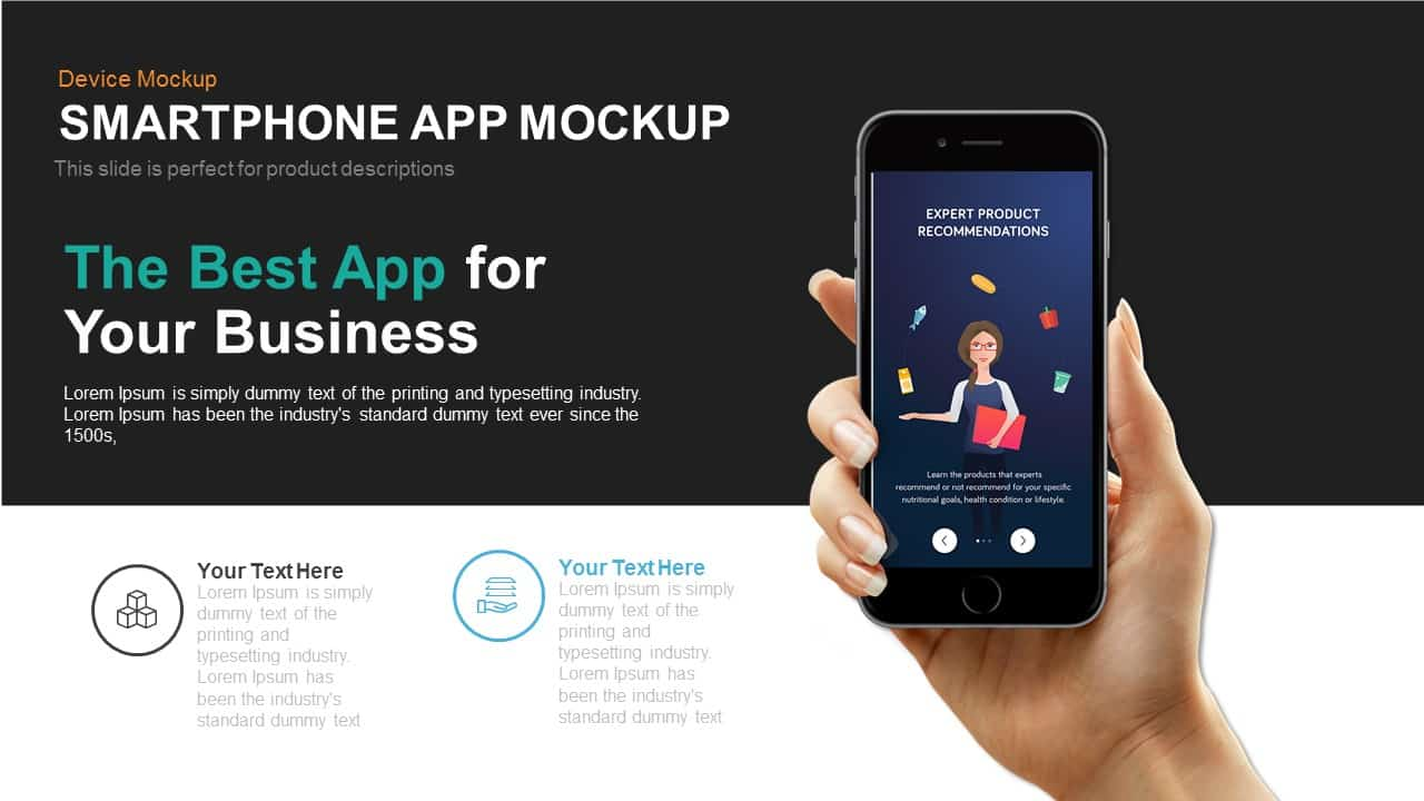 Smartphone Application Mockup PowerPoint Template and Keynote Slide