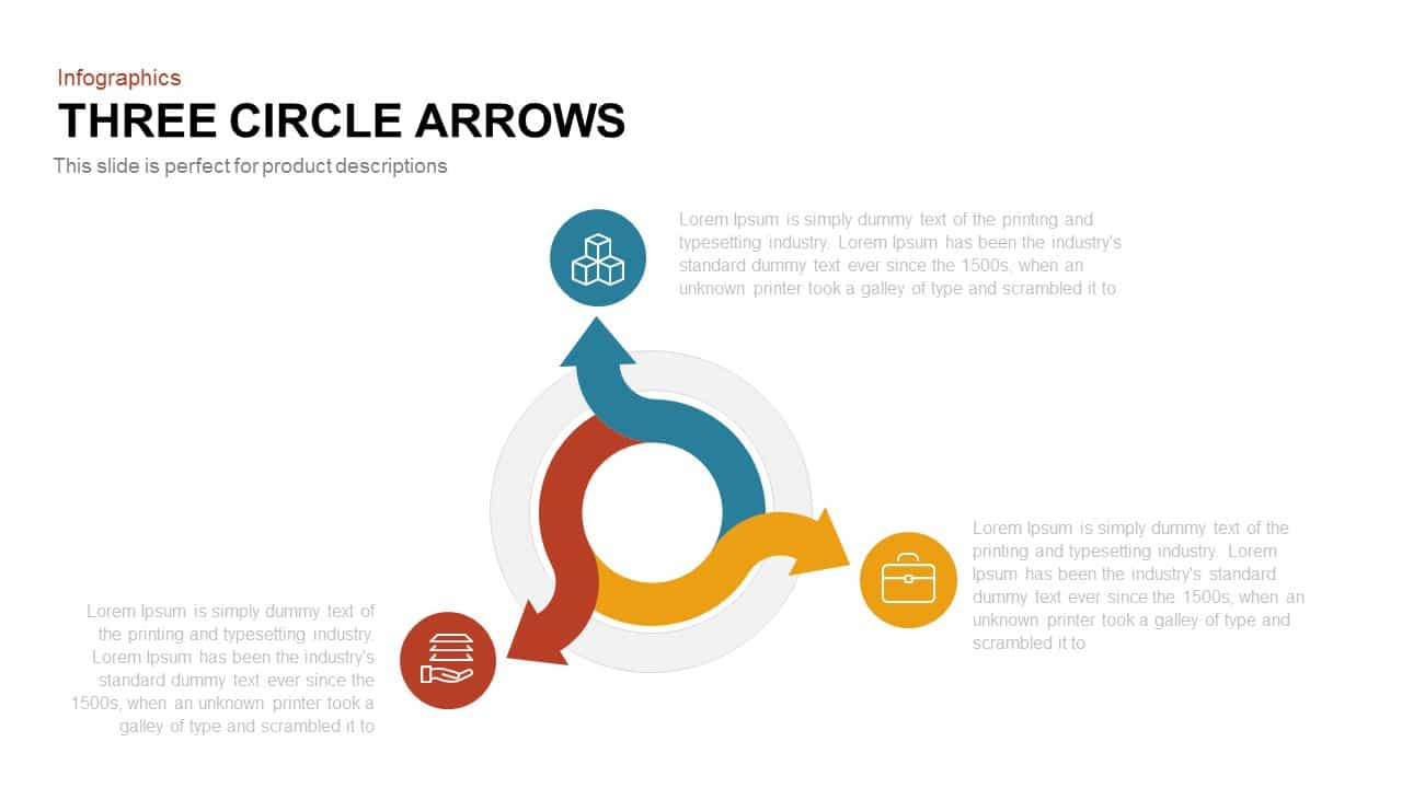 3 Arrows Circle PowerPoint Template and Keynote Slide
