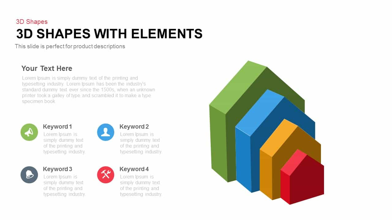 4 pointer slide with 3d graph element PowerPoint template - 3d Shapes with Elements