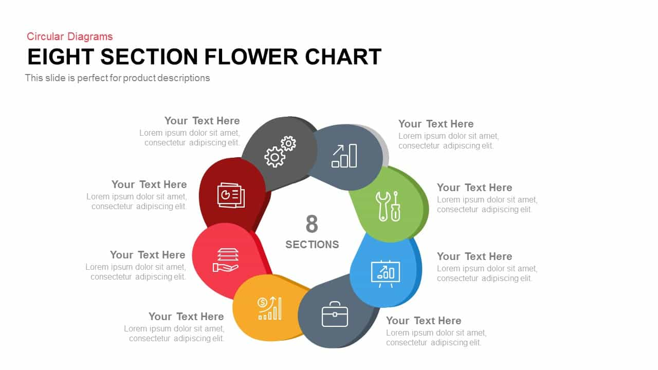 Eight Section Flower Chart PowerPoint Template and Keynote