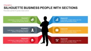 Business People Silhouette with Sections Template for Presentation