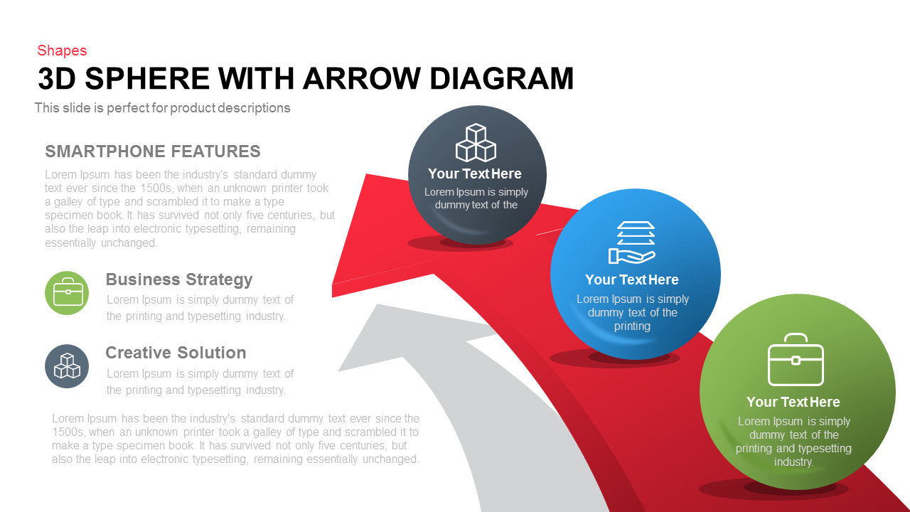 3d Sphere with Arrow Diagram PowerPoint Template and Keynote Slide