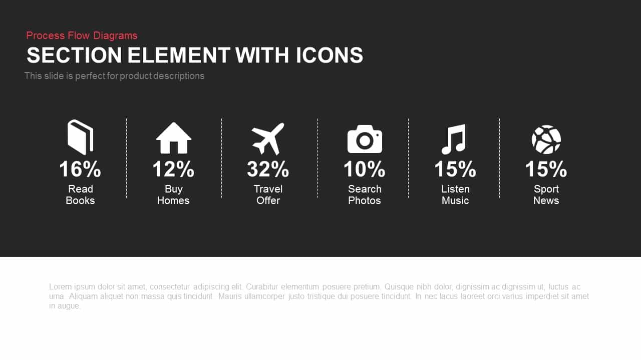 Section element with icons for PowerPoint presentation