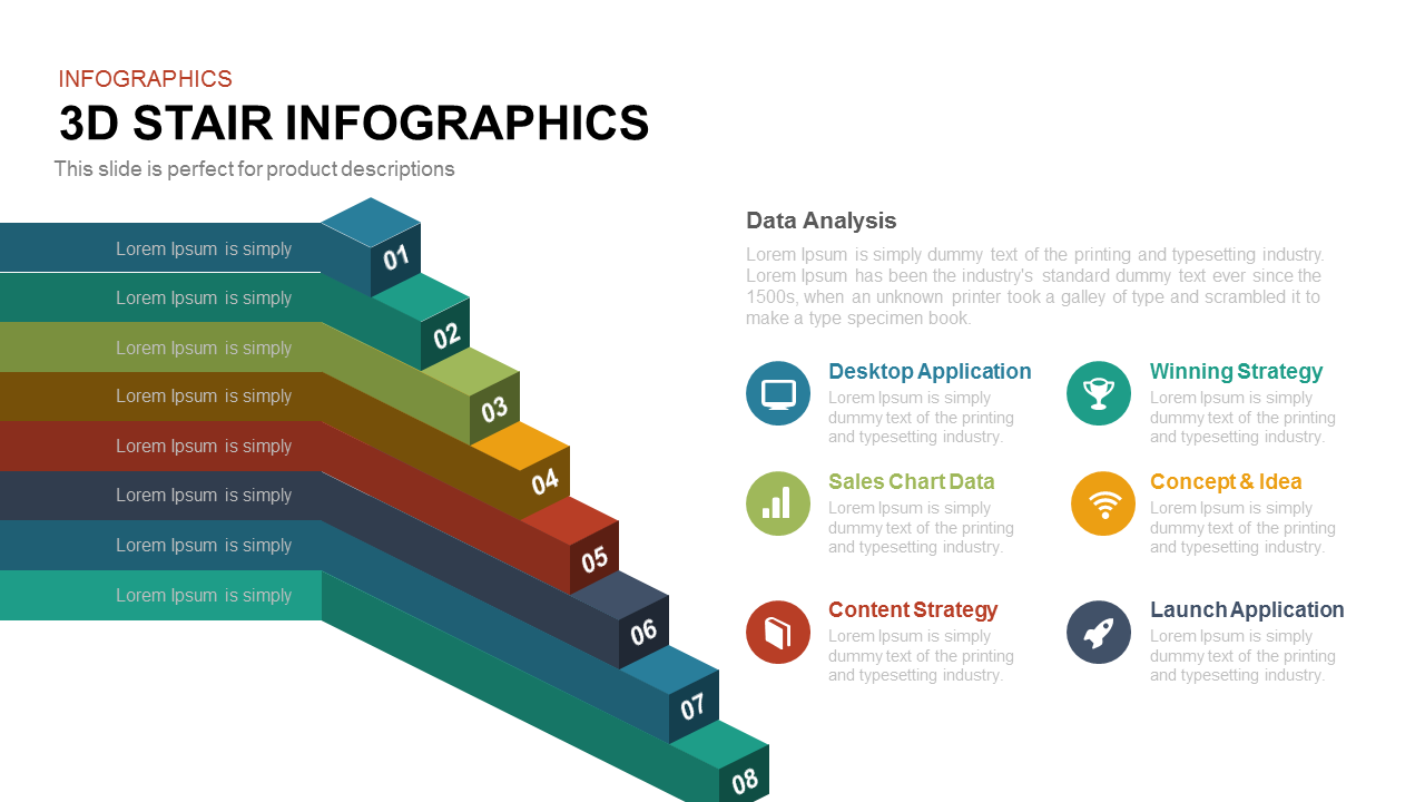 3d Stair Infographics PowerPoint Template and Keynote