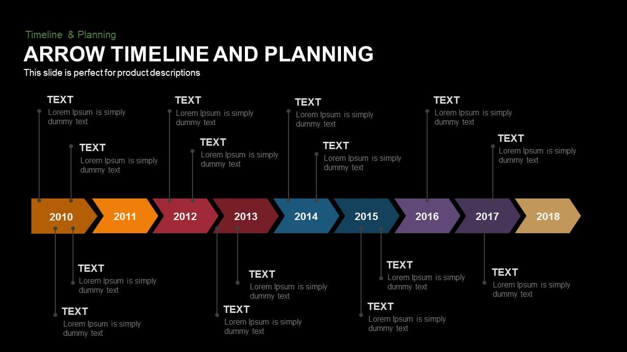 Arrow Timeline and Planning Template for PowerPoint and Keynote