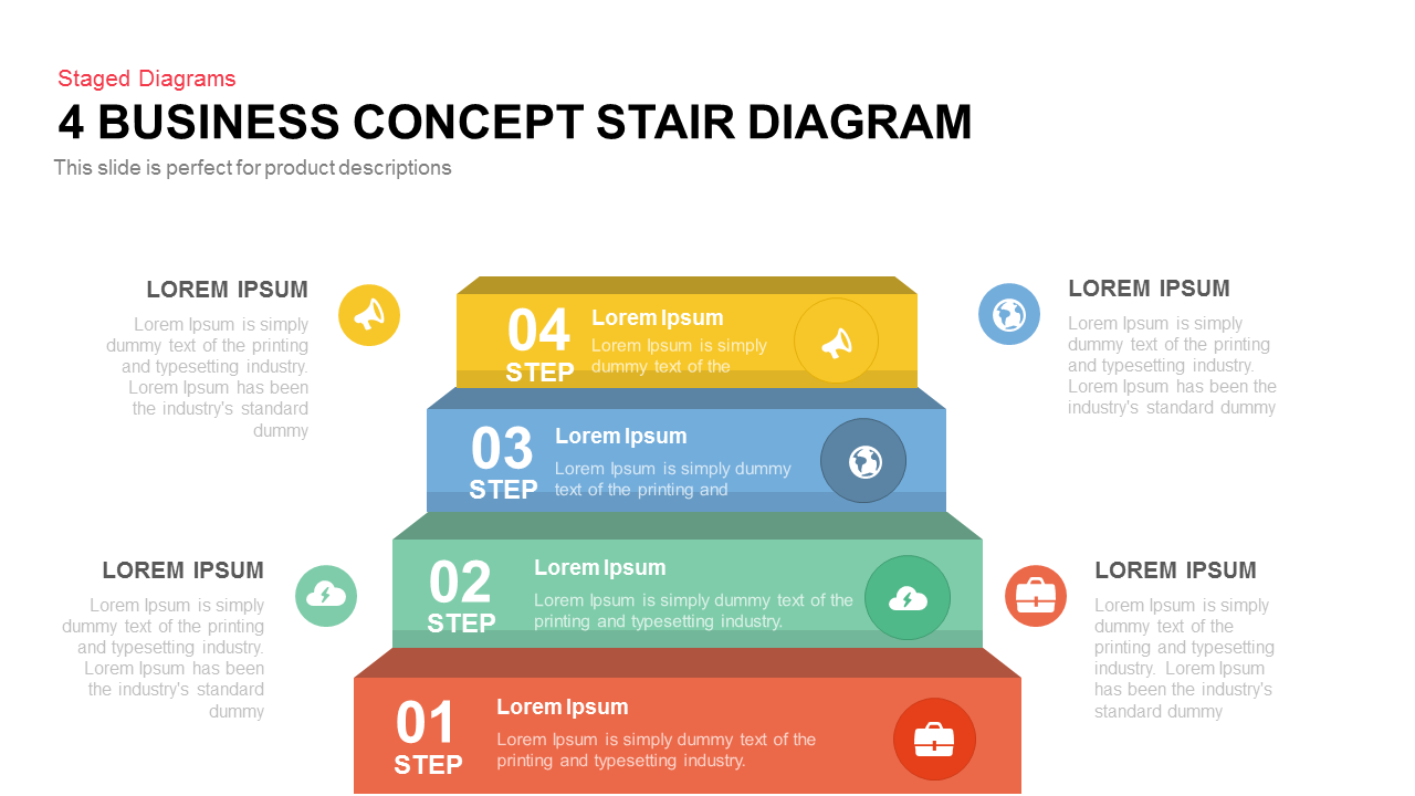 Business Concept Stair Diagram Powerpoint Template And