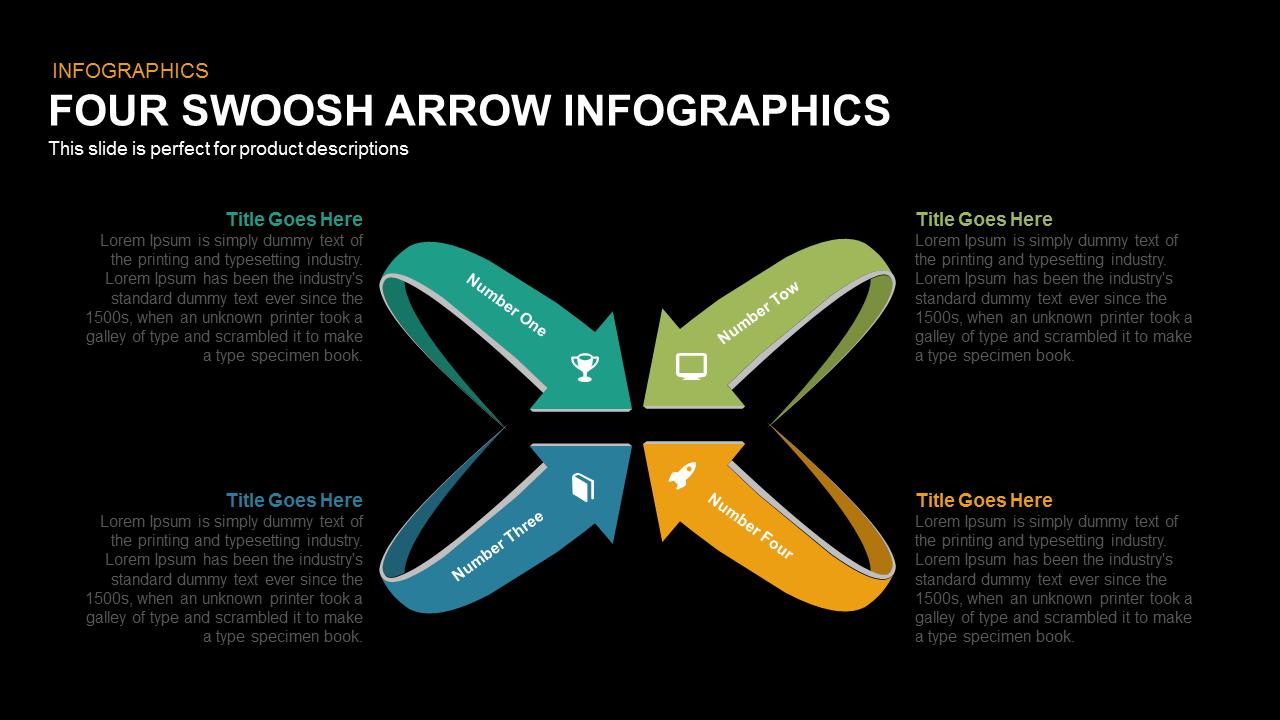 Four Swoosh Arrow Infographics