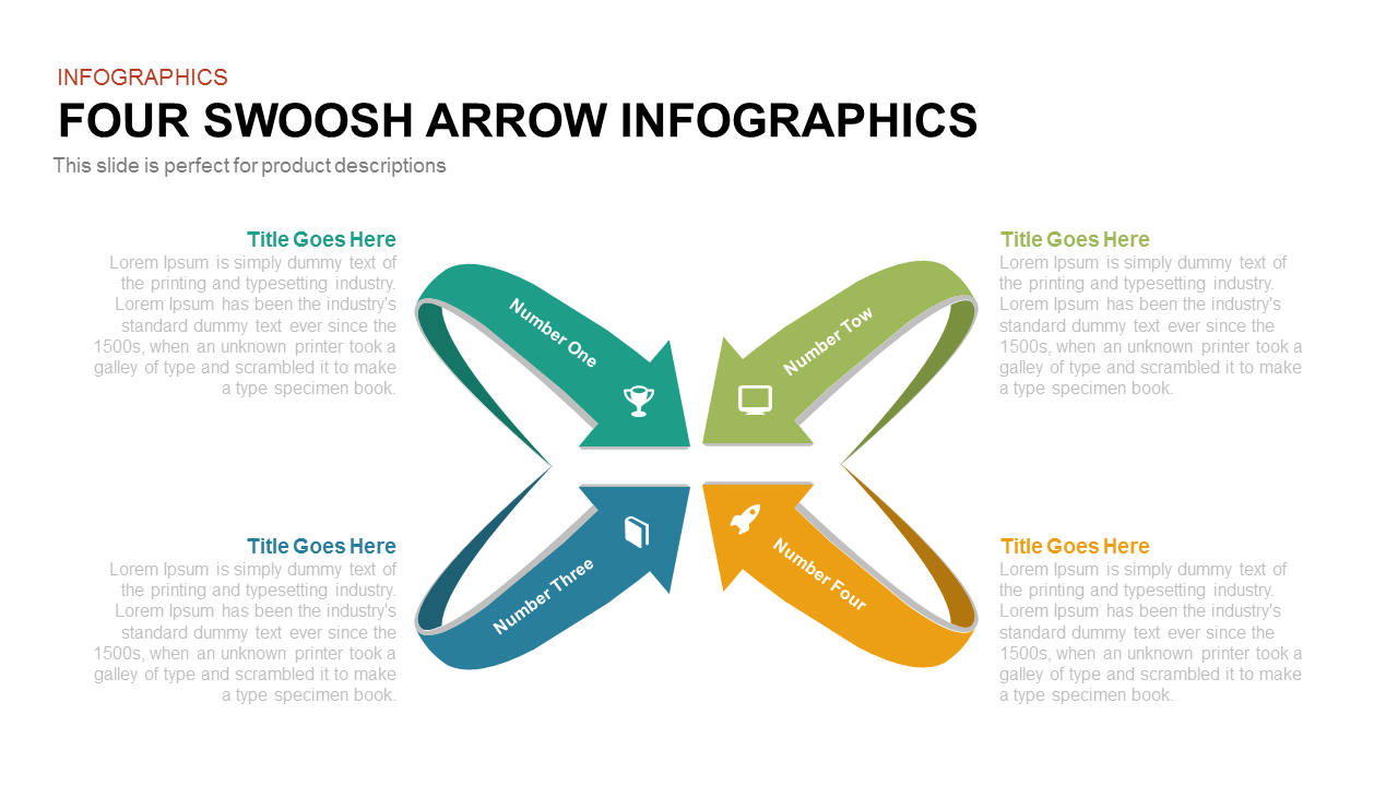 4 Swoosh Arrow PowerPoint Template and Keynote
