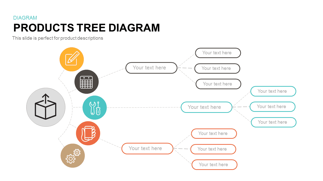 Products Tree Diagram Template for PowerPoint Presentation and Keynote Slide