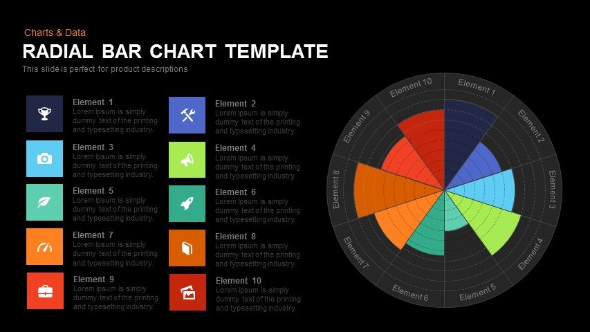 radial bar chart template for PowerPoint and Keynote