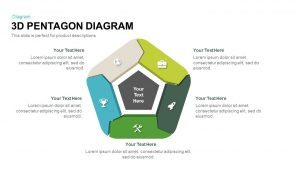3d Pentagon Diagram Template for PowerPoint and Keynote