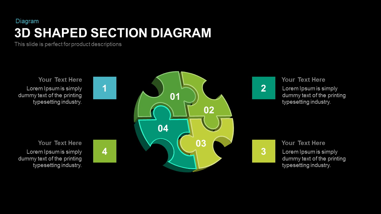 3d Shaped Section Diagram PowerPoint Template
