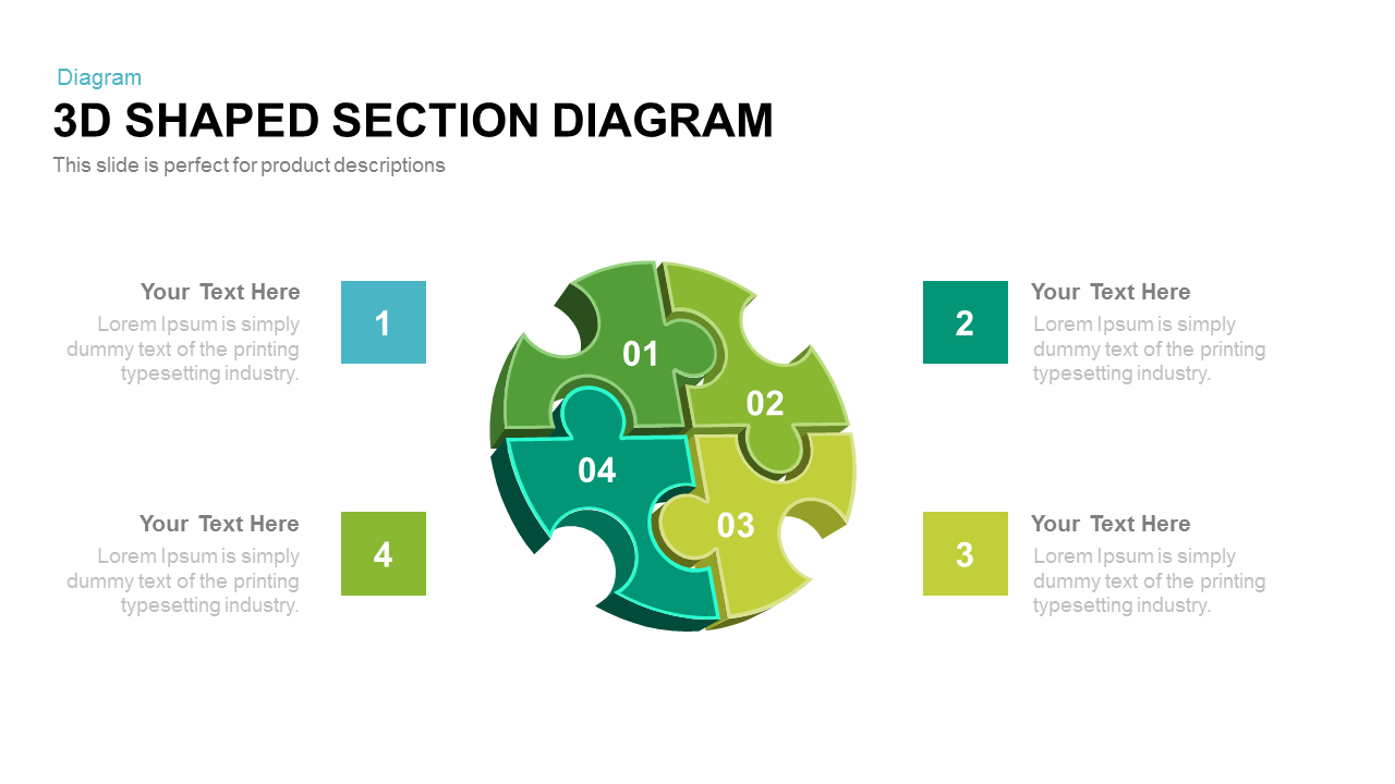 3d Shaped Section Diagram Powerpoint and Keynote template