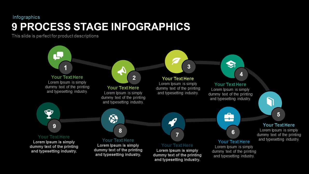 9 Process Stage Infographics Powerpoint and Keynote template