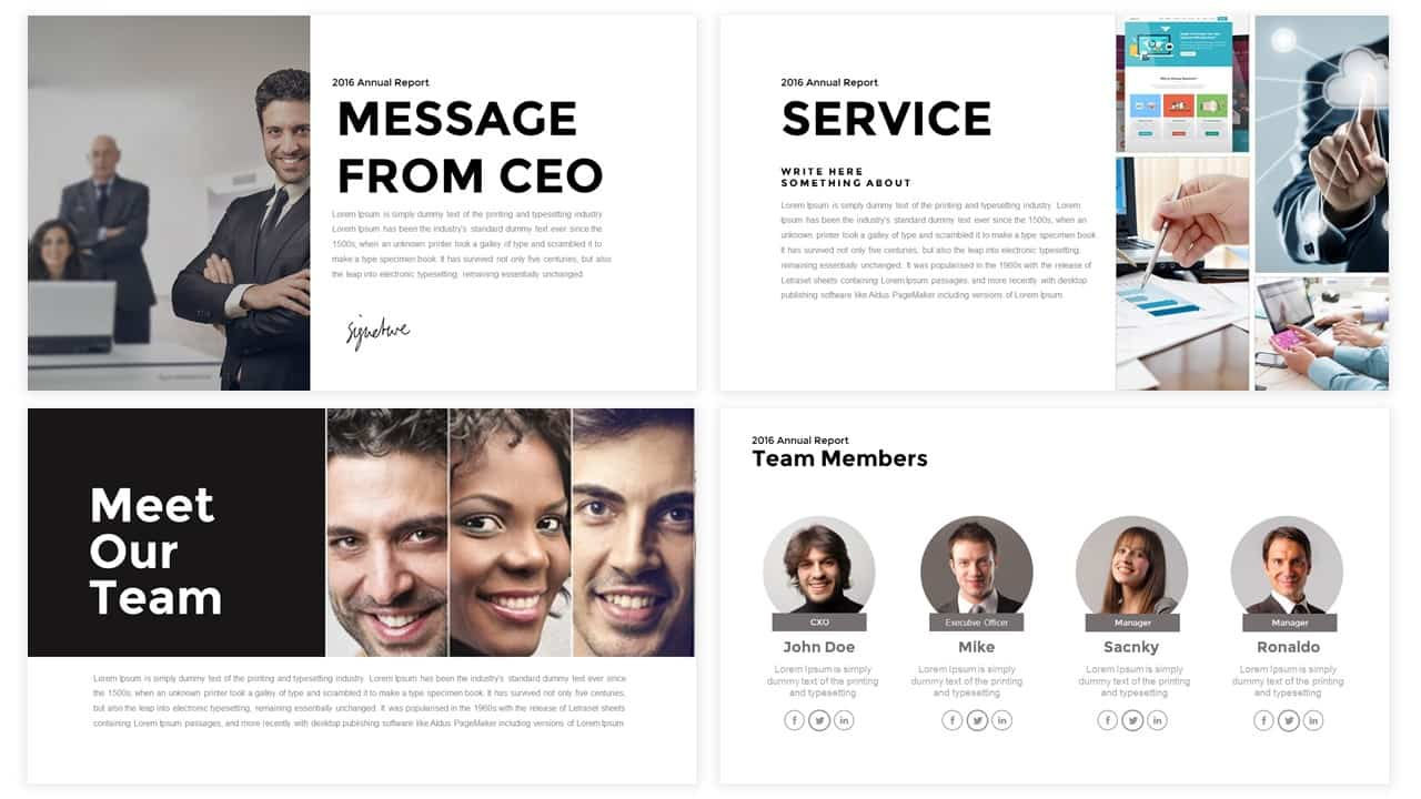 Corporate Annual Report Powerpoint and Keynote template