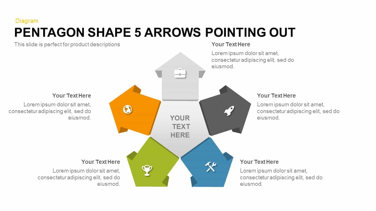 5 Arrows Pentagon Shape Pointing Out
