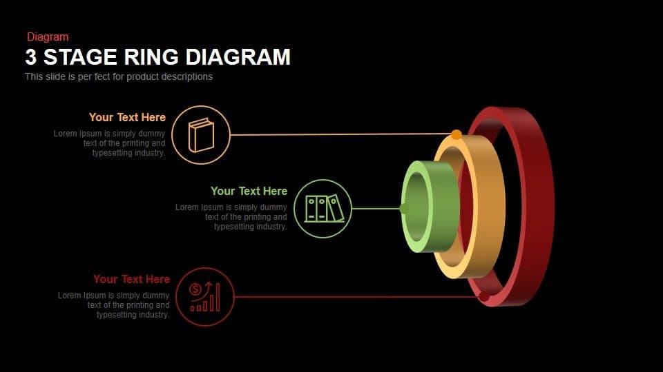 3 Stage Ring Diagram Powerpoint Template and keynote slide