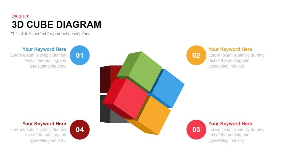 3d Cube Diagram Powerpoint and Keynote template