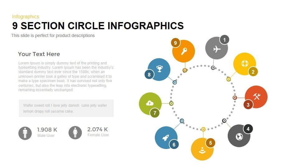 9 Section Circle Powerpoint and Keynote Infographics