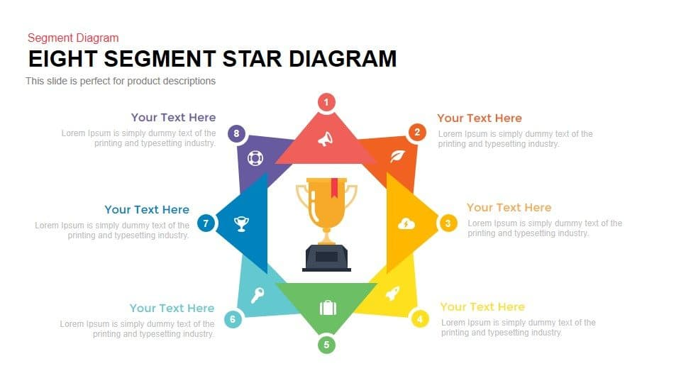 8 segment star diagram template for PowerPoint and keynote slides