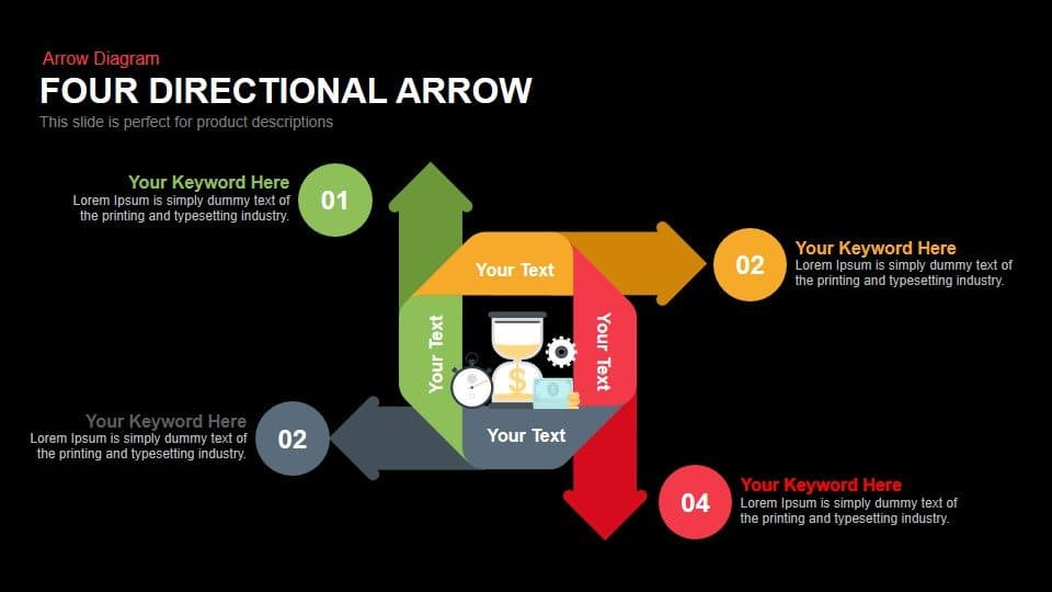 4 Directional Arrows PowerPoint Templates
