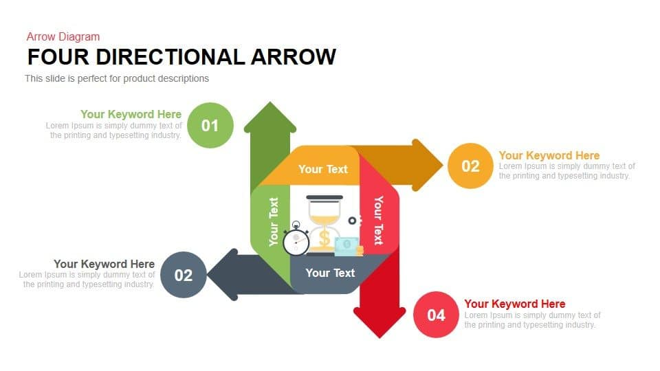 Four Directional Arrow Powerpoint and Keynote template