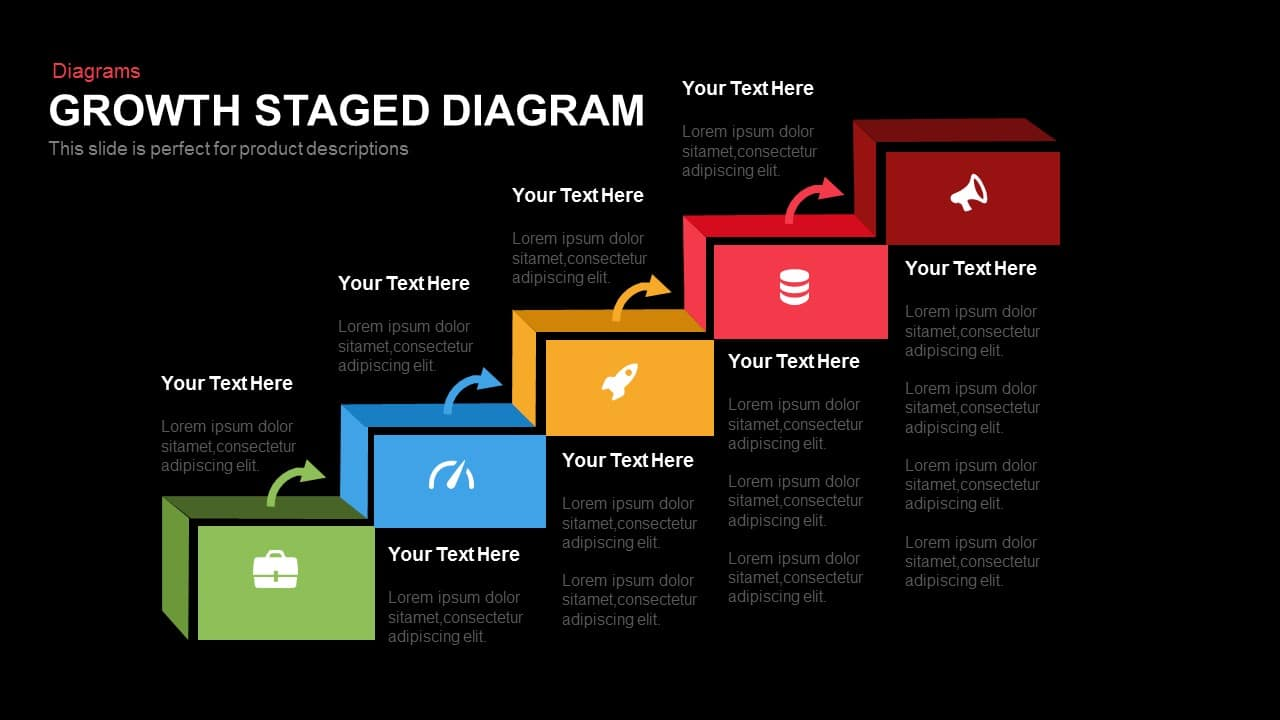 Growth Staged Diagram Powerpoint and Keynote template