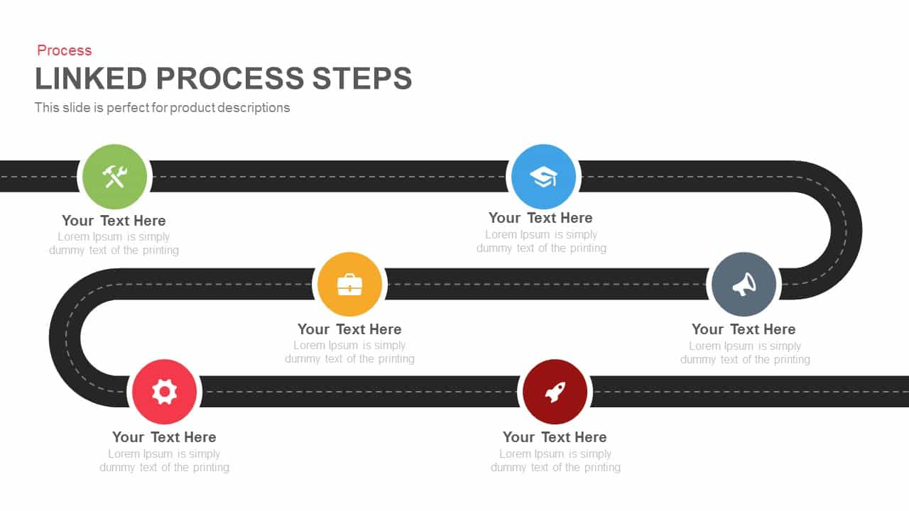 Linked Process Steps PowerPoint Template and Keynote