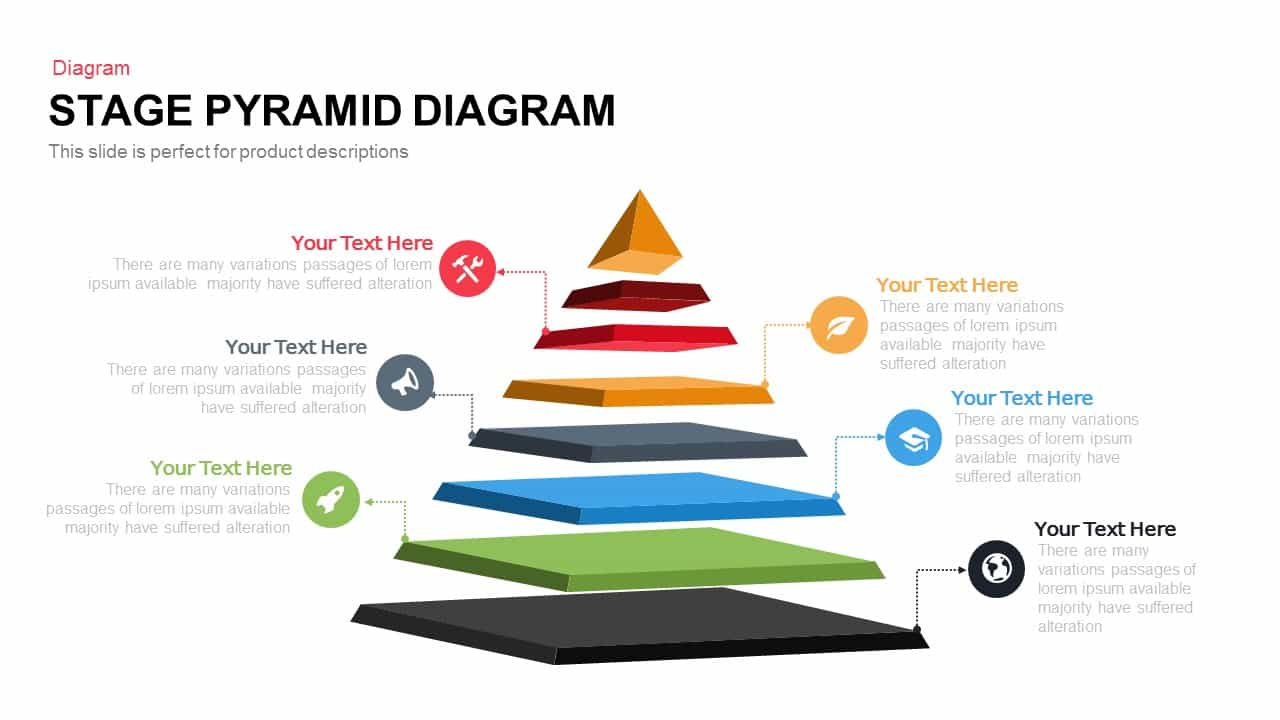 Stage pyramid diagram PowerPoint template and keynote