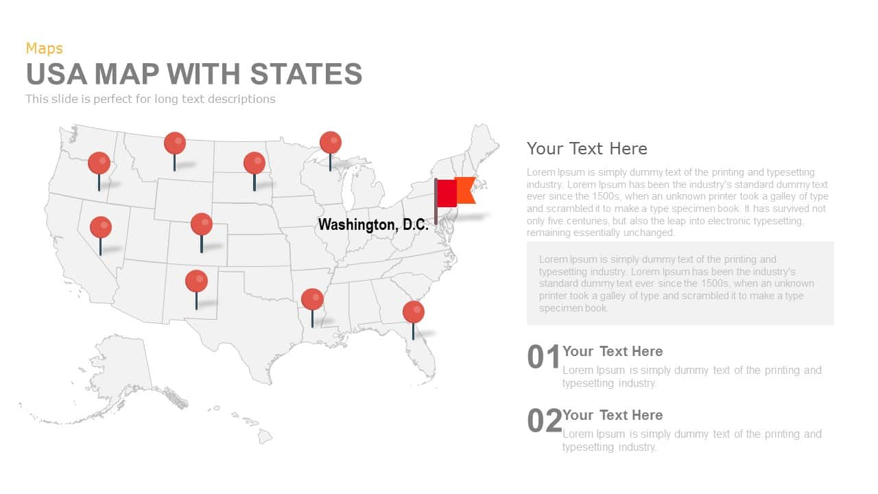 USA Map With States Powerpoint and Keynote template