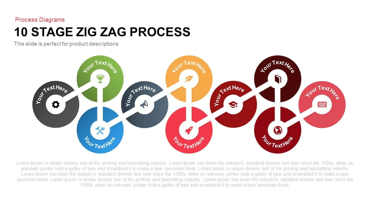 10 Stages Zig Zag Process PowerPoint Template and Keynote