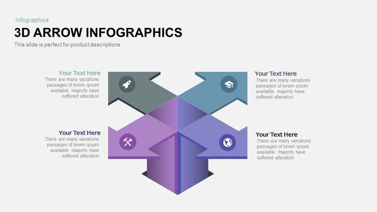 3d infographics arrow PowerPoint template and keynote