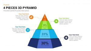 4 Pieces 3d Pyramid PowerPoint Template and Keynote Slide