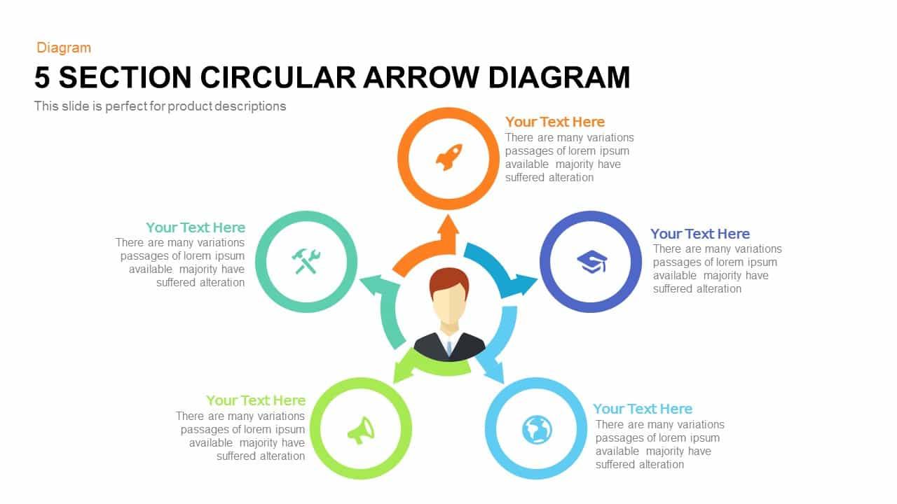 5 Section Circular Arrow Diagram