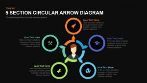 5 Section Circular Arrow Diagram PowerPoint Template and Keynote template