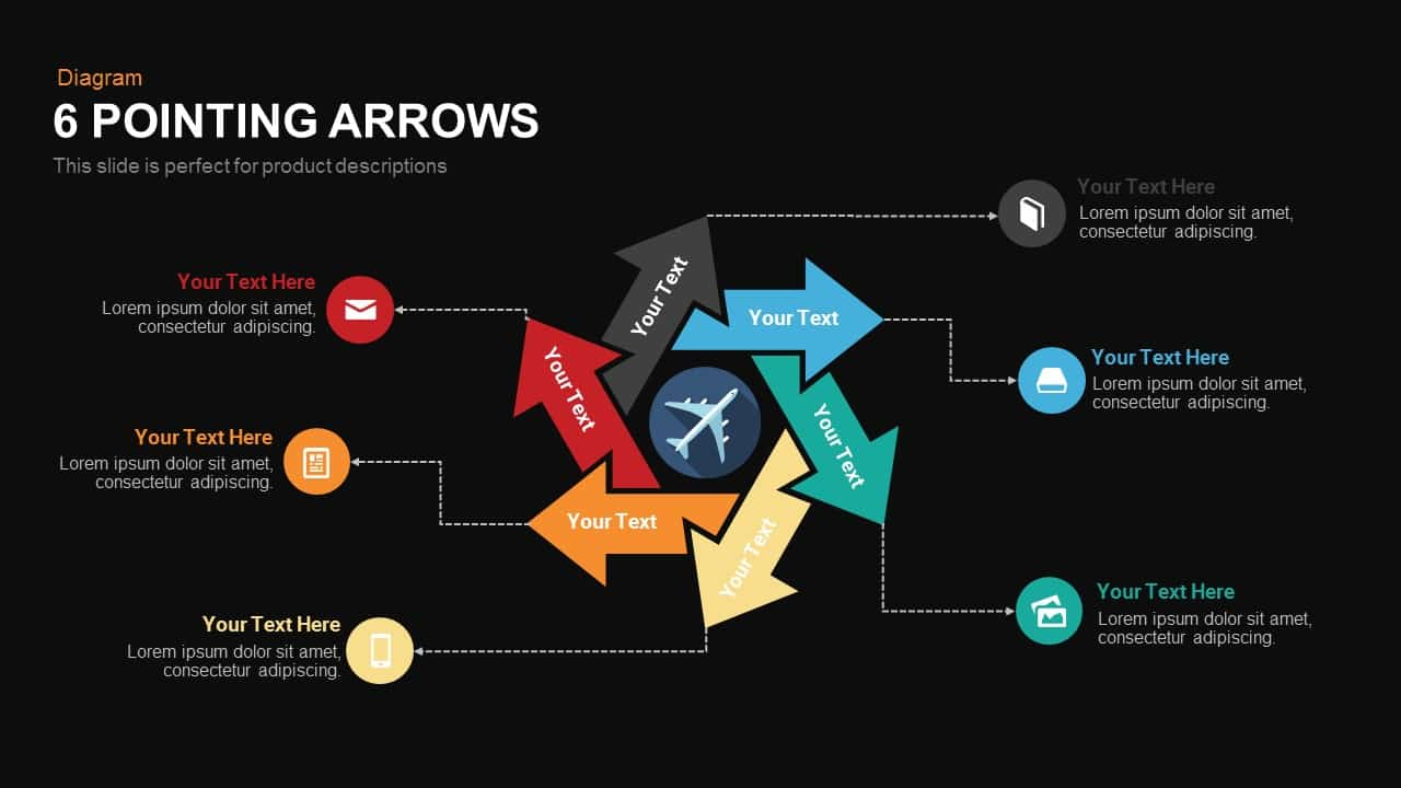 6 Pointing arrows powerpoint templates and Keynote template