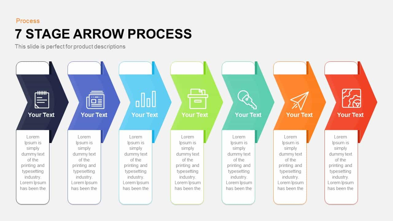 7 stage process arrow PowerPoint template and keynote