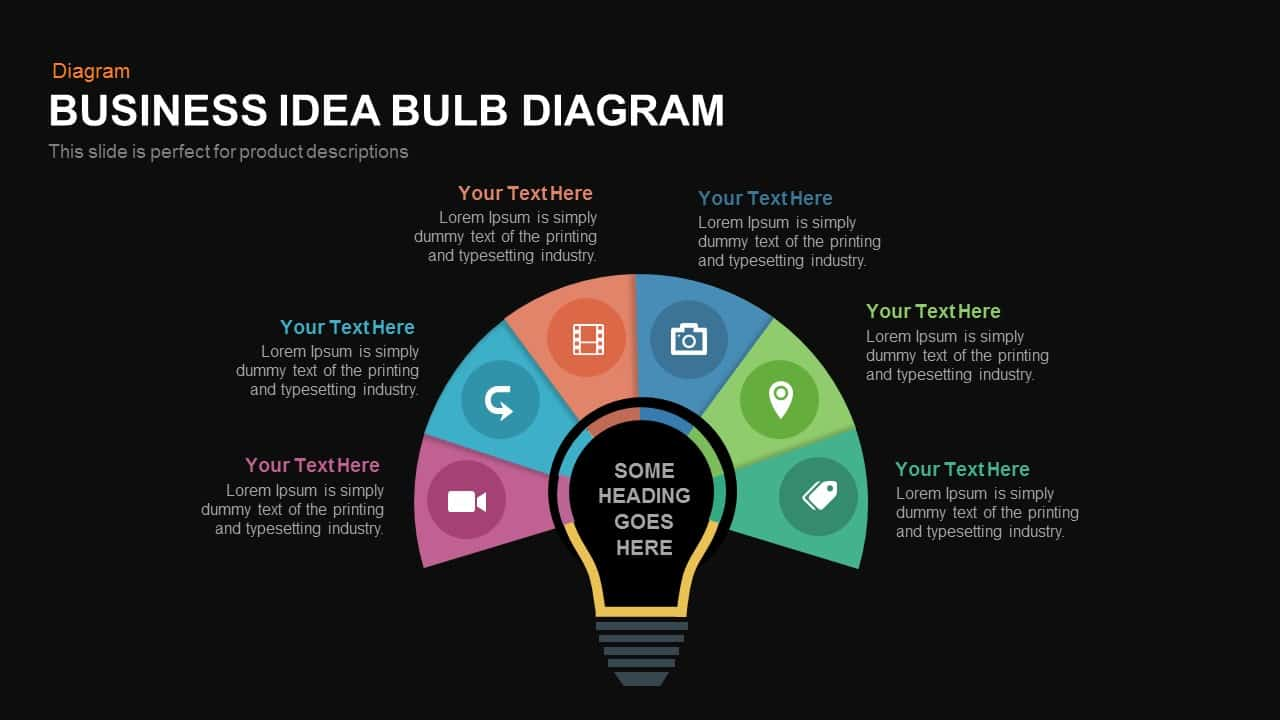 Business idea diagram light bulb PowerPoint template