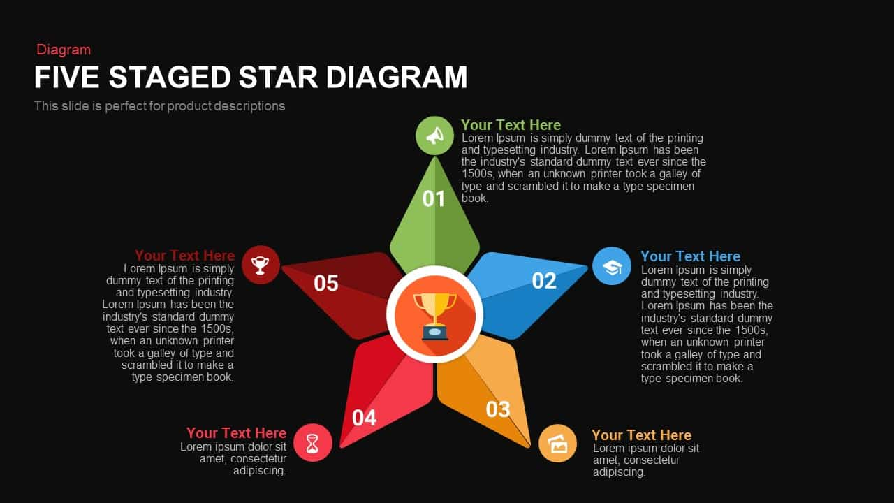 Five Staged Star Diagram Powerpoint and Keynote template