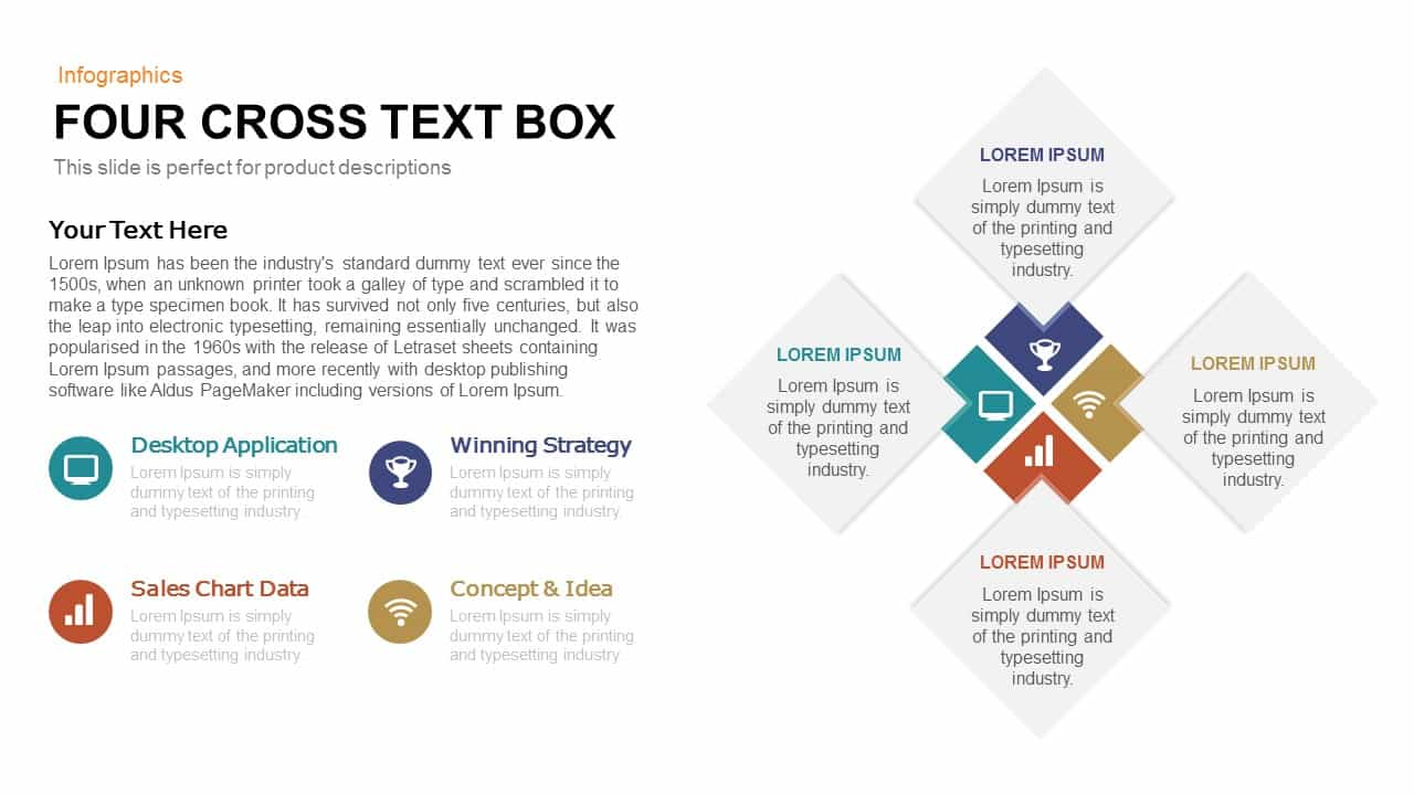 Four Cross Text Box Powerpoint and Keynote template