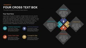4 Cross Text Box PowerPoint Template and Keynote