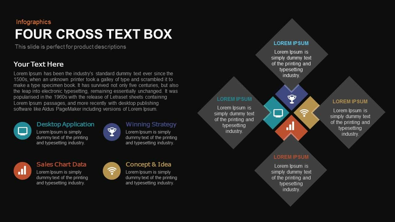 4 Cross Text Box PowerPoint Template