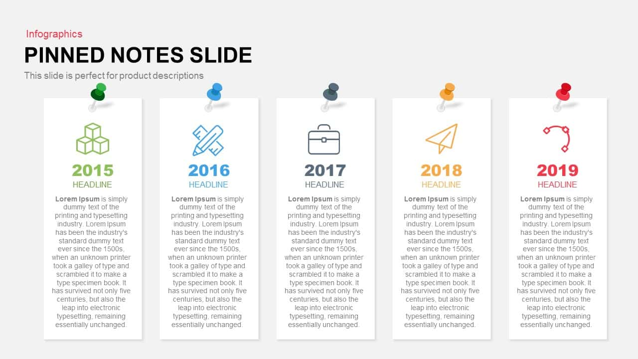 Pinned notes PowerPoint template and keynote
