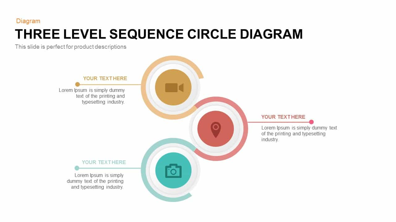3 level sequence circle diagram PowerPoint template